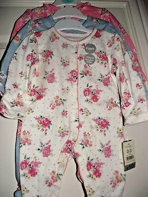 Baby Girls Sleepsuits Babygrows 0 - 3 Months Up To 12LB 3 Pack Cotton Floral