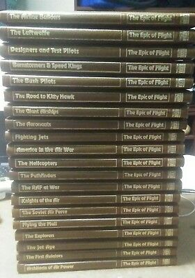 Lot 19 Time Life Epic Of Flight Gilded Edges Leatherette Brown Covers 80s rare