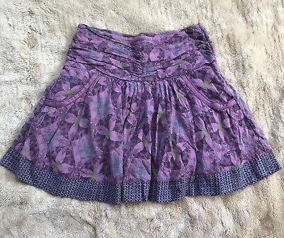Fat Face Girl Skirt Size 11 Years Purple Floral Ruched Short Pockets Cotton Boho