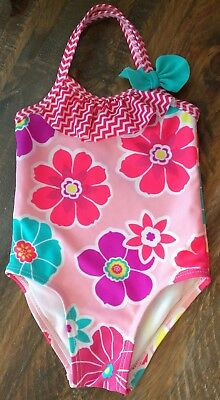 Target Girls Infant Swimsuit 0-6 Months One Piece CUTE! Flowers Pink Euc