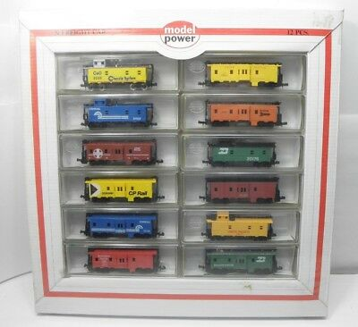 N Scale  MODEL POWER CABOOSE 12 CAR SET; 3603-CABOOSES (12) MIB