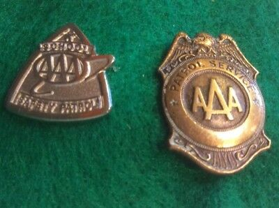 School Safety Patrol AAA Pin Silver tone  ,Bronze Pin Set Of Two