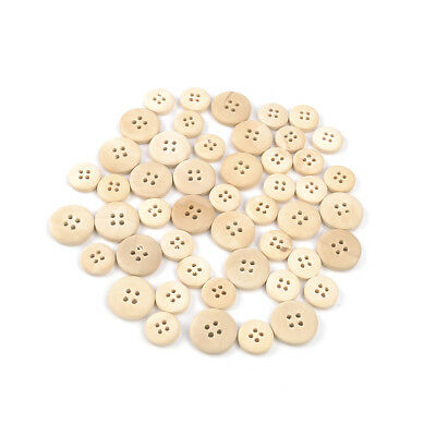 50 Pcs 4-Holes Mixed Natural Color Wooden Buttons Round Sewing Scrapbooking DIY