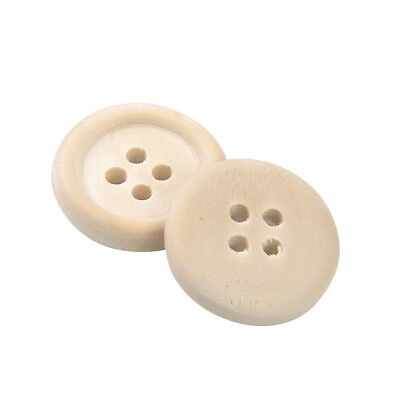 50 Pcs Mixed Natural Color Wooden Buttons Round 4-Holes Sewing Scrapbooking DIY