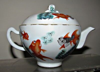antique chinese porcelain/china famille rose tea pot hand painted fish mark