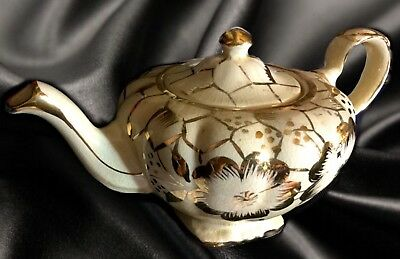 "Vintage Arthur Wood Fluted Chinese Teapot, 1950's *Gold "" 4151*Made in England"