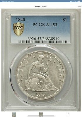 1840 Seated Liberty Silver Dollar $1-PCGS AU53, Gold Shield-Rare! 61,005 Mintage