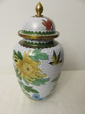 VTG CHINESE Export CLOISONNE Enamel Brass FLORAL Hand Painted JAR with TOP Base