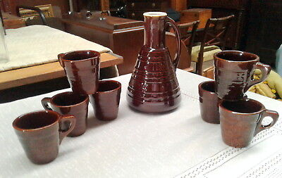 MARCREST DAISY AND DOT CARAFE GLAZED POTTERY with 7 CUPS VTG Kitchen Ware