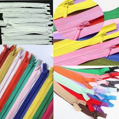 11inch 10pcs Invisible Nylon Coil Zippers Tailor Sewing Tools Craft Mixed Colors