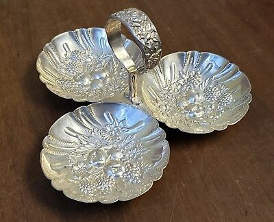 Kirk Sterling Silver Nut Dish Bon Bon Tray Repousse Rose Serving Candy Floral