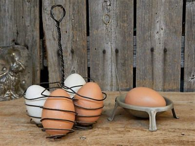 2 Early Antique Primitive Tin & Wire Egg Holder Dipper Easter Kitchen
