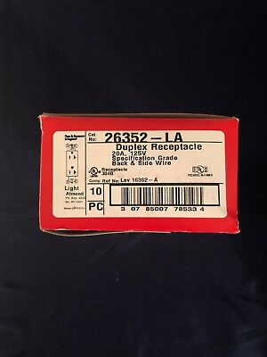 Lot of 10 Legrand 26352-LA Duplex Receptacles 20A 125V - Light Almond