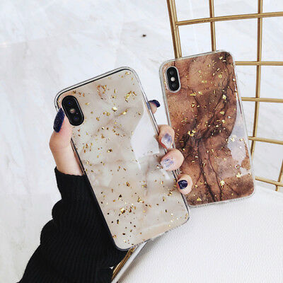 Bling Cover fr iPhone Xs Max XR X 8 7 6 Glitter Gold Foil Epoxy Marble Back Case