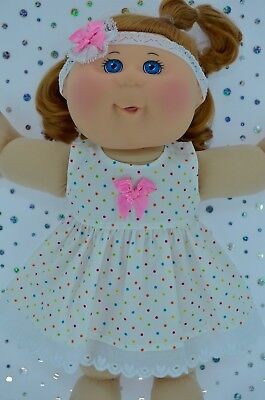 "Play n Wear Doll Clothes To Fit 14"" Cabbage Patch MULTI POLKA DOT DRESS~HEADBAND"