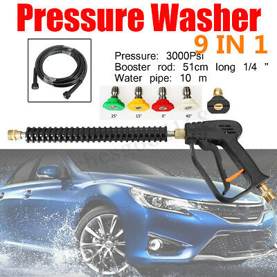 UK Replacement 3000PSI Pressure Car Washer Spray Gun 10M Pipe Hose 5 Tip Nozzle