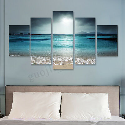 5Pcs Framed Modern Ocean Sea Canvas Print Painting Art Poster Home Wall Decor