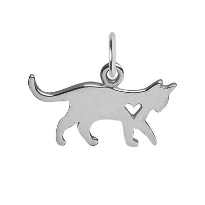 Cat and Heart Charm Sterling Silver .925 Small Kitten Silhouette