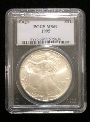 1995 Pcgs Certified Ms69 American Silver Eagle .999 Ase