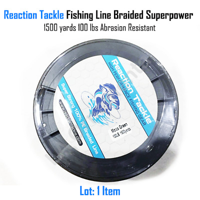 Reaction Tackle Fishing Line Braided SuperPower 1500yrs 100lb Abrasion Resistant