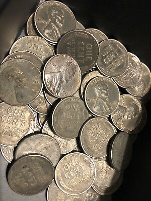 Roll of 1943 Steel Wheat Lincoln Pennies - 50 Steel Wheat Penny Cent Coins