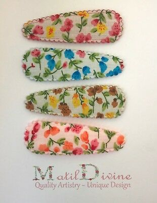 Baby Girl Toddler Non Slip Hair Bow 4.7cm Snap Clips Garden Floral ~ Set of 4