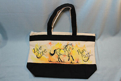 NEW OOAK Hand-painted Reusable Canvas Tote Bag - Running horse