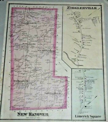 New Hanover Township Zieglerville Montgomery Co. Pa 1877 Scott Antique Color Map