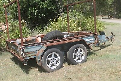 Used 8' x 5' Tandem Trailer With Electric Brakes NEEDS WORK Not-Registered Rusty