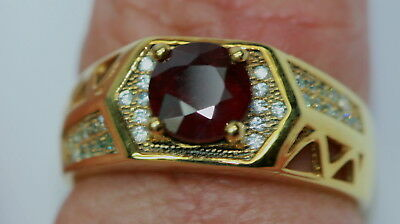 ESTATE MENS RING NATURAL RUBY 1.80 CT SOLID STERLING SILVER / 14K GOLD Size 10.5