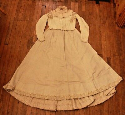 Antique 1800s Early 1900s Wedding Dress Skirt and Bodice