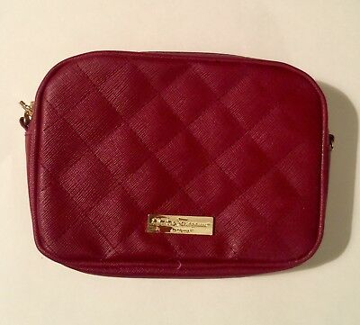 aa0994085d7d Salvatore Ferragamo Parfums Red QUILTED Travel Toiletry Bag Airline Alitalia