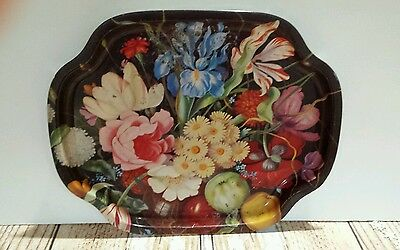 "Vtg Serving Tray Fruit Floral Metal Printed Toile 16x13"" Shabby Chippy Flowers"