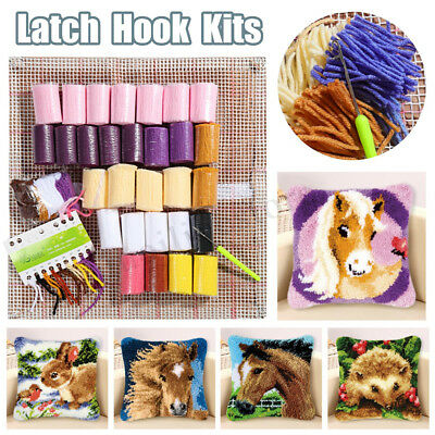 Latch Hook Rug Kit DIY Embroidery Cross Stitch Needlework for Cushion Pillow Mat