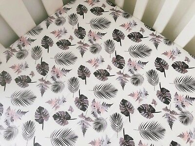Grey And Peach Monstera And Palm Leaves Cot Fitted Sheet