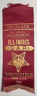 G.A.R. Department Of Illinois 20th Annual Encampment Springfield 1886 Delegate