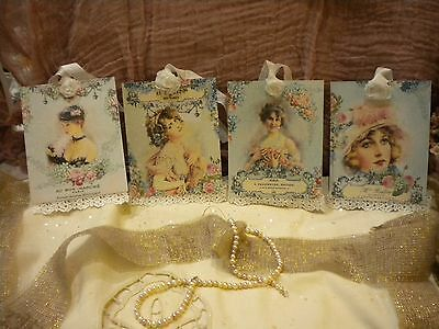 Hanging / Gift Tags Beautiful Shabby Vintage Women with Lace and Fabric Rose (4)