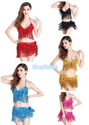 Belly Dance Bollywood Sequins Tassel Fringe Top Hip Scarf Belt Waist Wrap Skirt