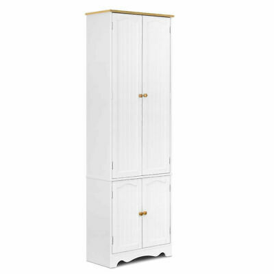 Artiss Two-part Four-door Design 6 Tier Wooden Kitchen Tall Pantry Cabinet White