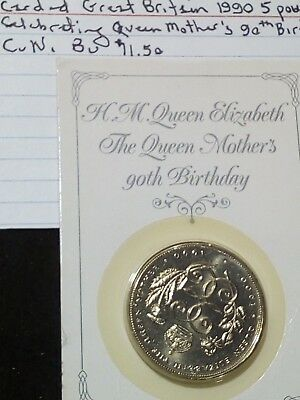 1990 Great Britain 5 pound coin Queen Mother's 90th birthday