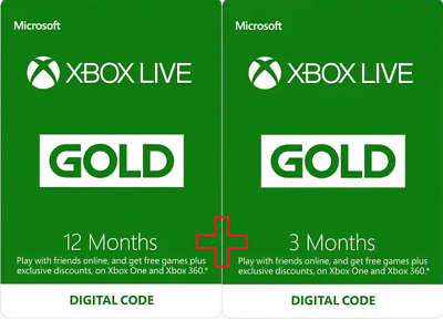 Xbox Live Gold 12 Month + 3 Month (15 Months Total) Membership!