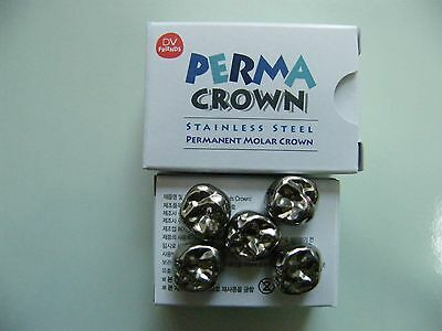 DENTAL Stainless Steel Permanent Molar Crowns, 24 Available Sizes, 5 per Box