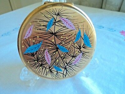 Vintage convertible Stratton powder compact - pink and blue leaf design