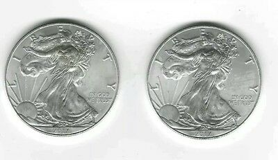Lot of two 2018 American Silver Eagle Coins (1 oz)