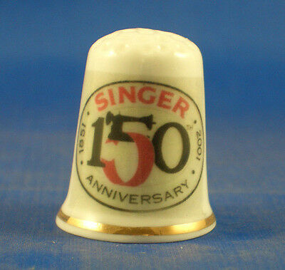 Fine Porcelain China Thimble -  Singer 150Th Anniversary -- Free Gift Box