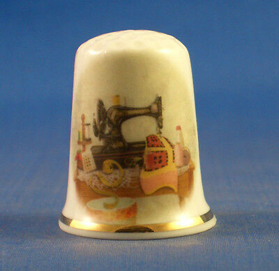 Fine Porcelain China Thimble -  Vintage Sewing Table -- Free Gift Box