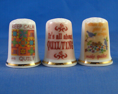 Fine Porcelain China Thimbles - Set Of Three - Vintage Adverts - Quilting