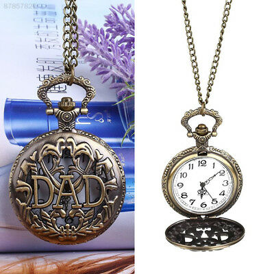 3D15 Vintage Bronze DAD Father Hollow QuartzPocket Watch Analog Pendant Necklace