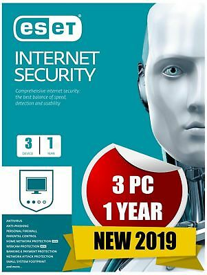 Eset Internet Security 2019 3 Devices / Pc 1 Year Antivirus Genuine Code & Link