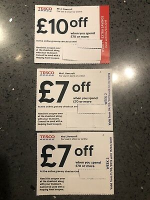 £24 Money Off Coupons Vouchers Tesco Over 3 Weeks £70 Spend